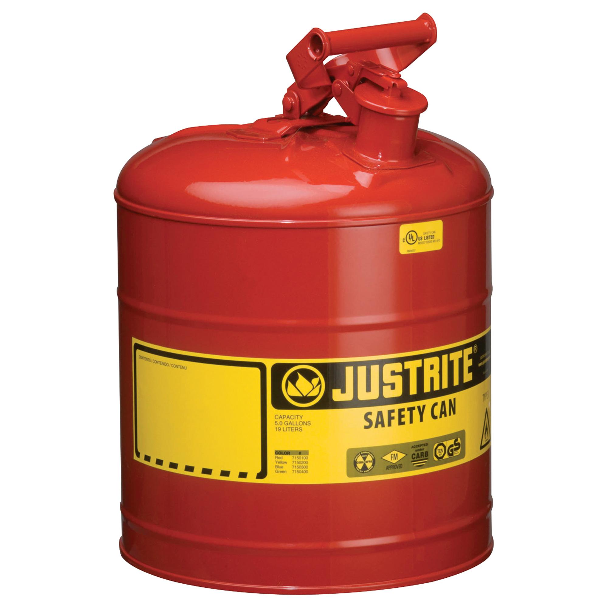 Justrite 7150100 Type I Steel Safety Can For Flammables 5